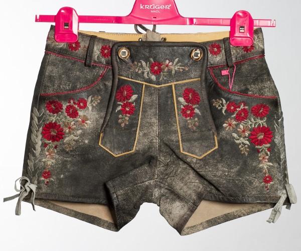 """Damen Lederhose """"Coachella"""" - grau mit Blumen"""