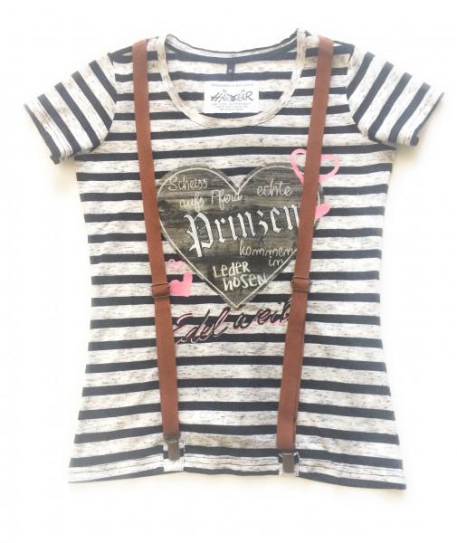 "Damen T-Shirt ""Irma"" - gestreift schwarz/grau"