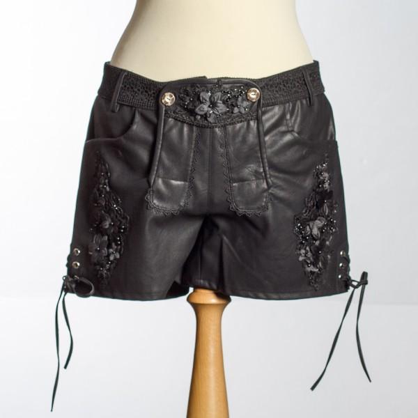 Damen Trachtenhose kurz schwarz, aufwendige Blütenapplikation