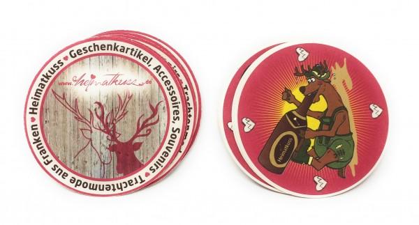 Bierdeckel Heimatkuss aus Bierfilzpappe 10er Set handmade