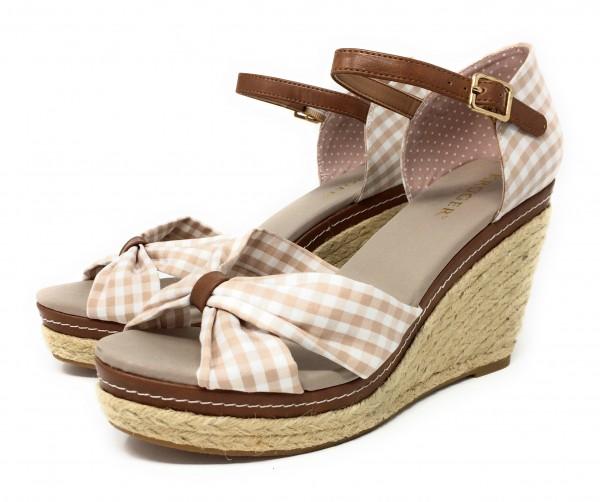 Damen Schuhe mit Keilabsatz beige/weiß kariert