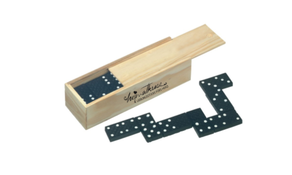 Domino in Holzschachtel