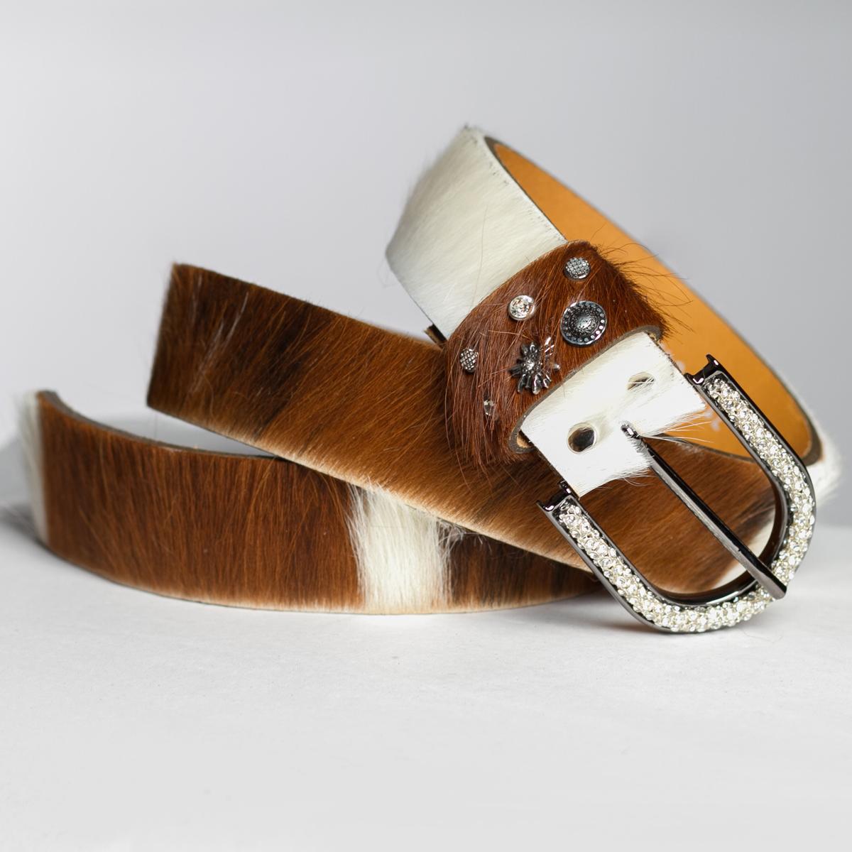 größter Rabatt schöner Stil günstig kaufen Damen Gürtel -Kuhfell Optik mit Strass Schnalle - braun/weiß