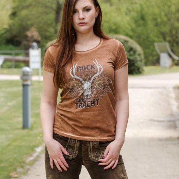 """Damen T-Shirt """"Rock die Tracht"""" - braun"""