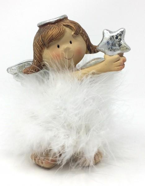 Engel mit Feder groß aus Poly