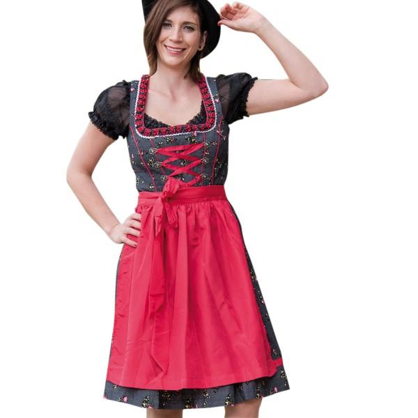 Damen Dirndl Schwarz/Rot