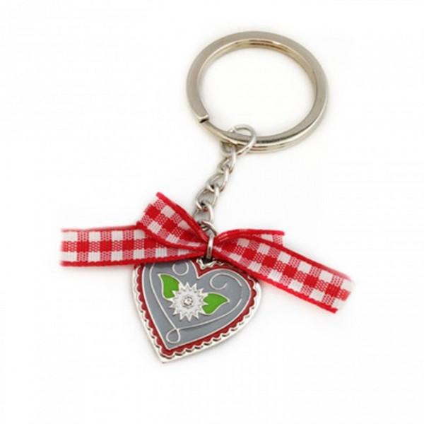 Schlüsselanhänger mit Herz-Anhänger und Edelweiß