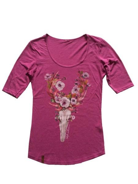 """Damen T-Shirt """"Flower Deer"""" mit Swarovskisteinen"""