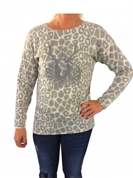 Alpensünde Pullover Cara oliv Leopardenmuster