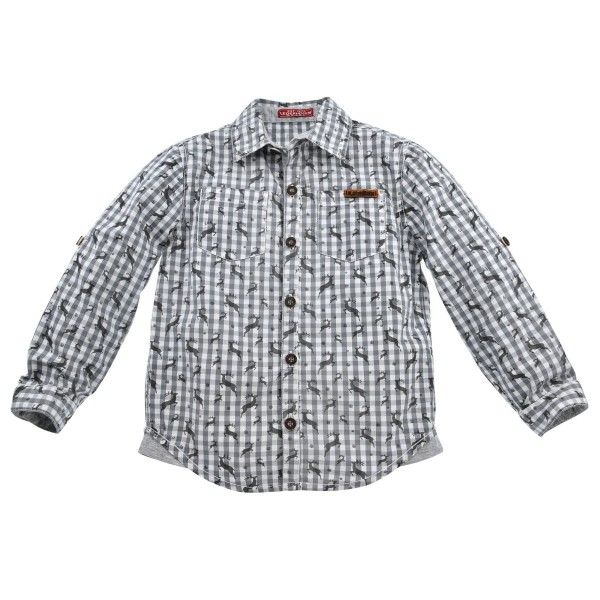 BONDI Jungen Trachtenhemd grau/weiss karriert
