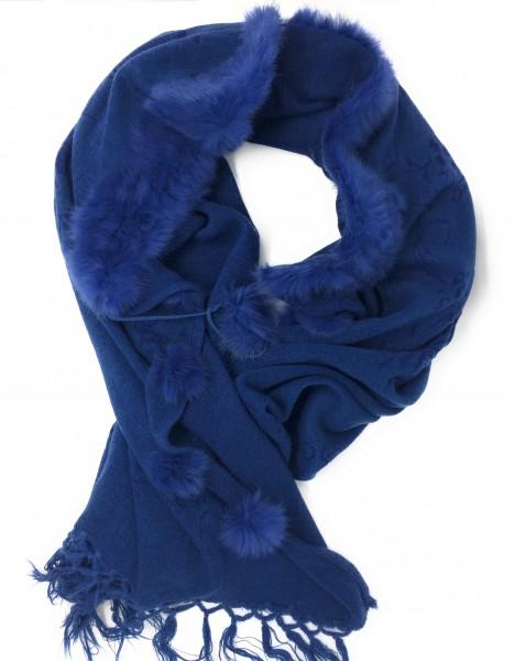 Schal in blau mit Fell und Fransen