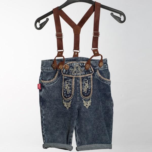 Jungen Jeans Short Laverella mit Trägern blau/braun