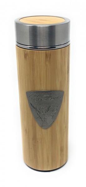 Tee To Go Becher | Bambus Edelstahl Thermosflasche | Isolierbecher mit Tee-Sieb