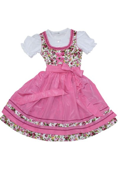 Kinderdirndl 3tlg pink/weiss mit Blumen Gr.140
