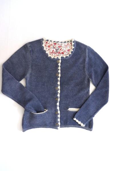 Damen Strickjacke aus Wolle Trachtenjacke blau