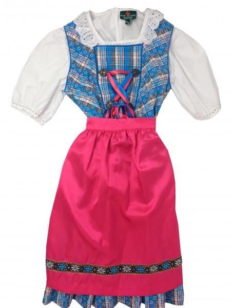 Mädchen Dirnd 3 tlg. blau/rosa