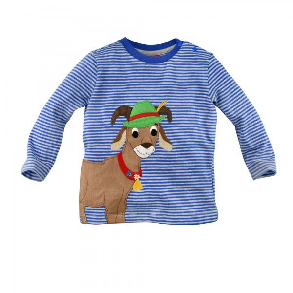 Baby Shirt Ziegenbock blau/grau gestreift
