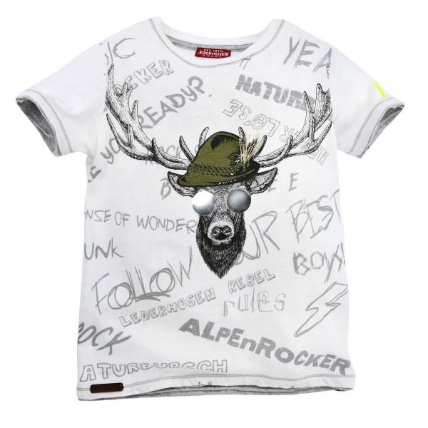 Jungen T-Shirt mit Hirsch weiss