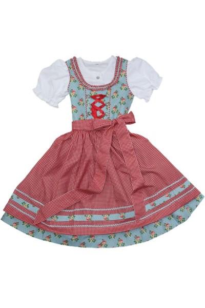 Kinderdirndl 3tlg rot/türkis