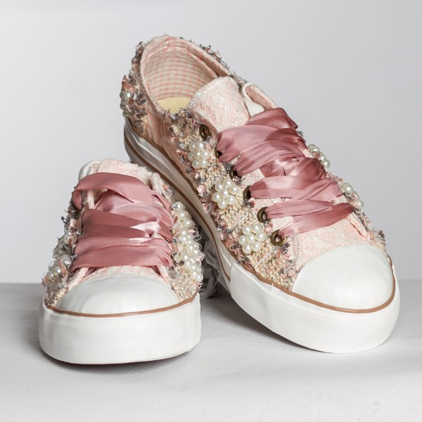 Damen Sneaker mit Perlen rose