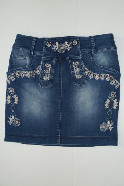 Damen Jeansrock mit Stickerei blau/weiss