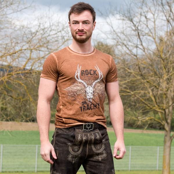 """Herren T-Shirt """"Rock die Tracht"""" - braun"""
