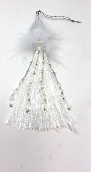 Weihnachtsbaumschmuck mit Feder silber/beige