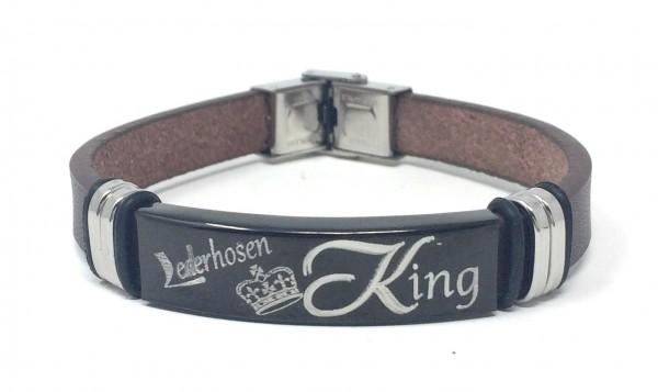 Herren Armband Lederhosen King braun/silber/schwarz