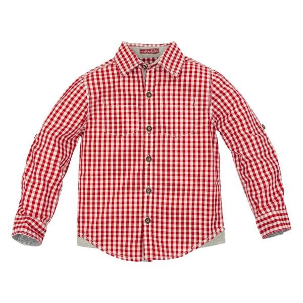 Jungen Trachtenhemd mit Hirsch rot/weiss kariert