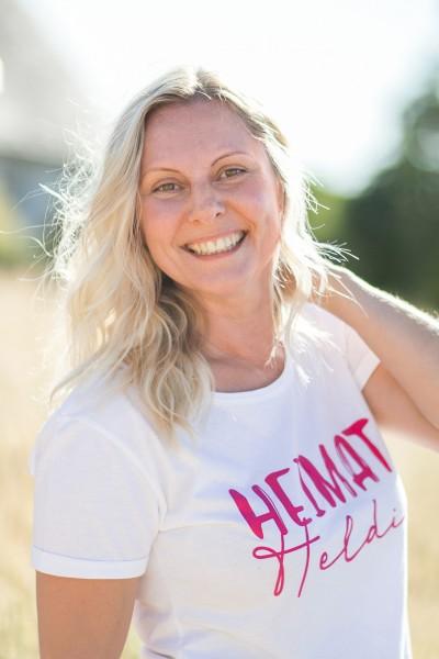 Damen T-Shirt Heimatheldin weiss/pink