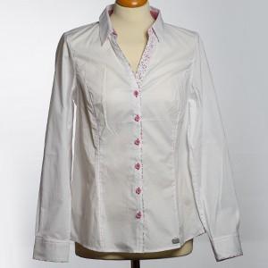 Damen Bluse langarm Kamilie weiß/pink