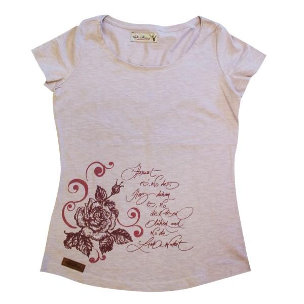 Damenshirt mit Strassherz Vintage Rosa