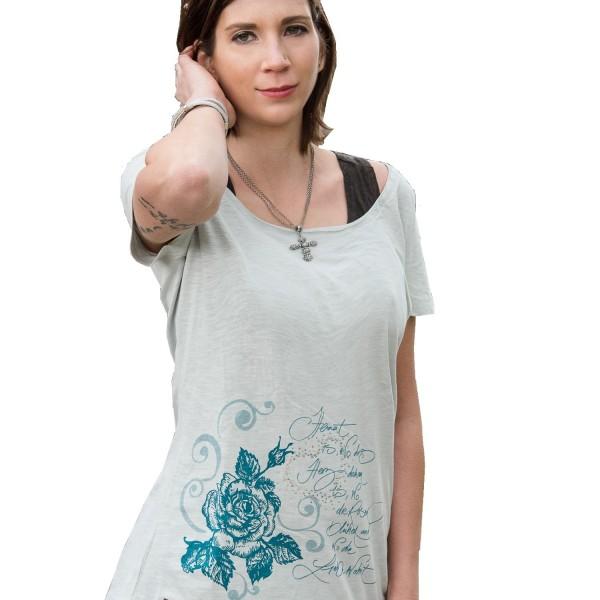 Damenshirt mit Strassherz Vintage blau