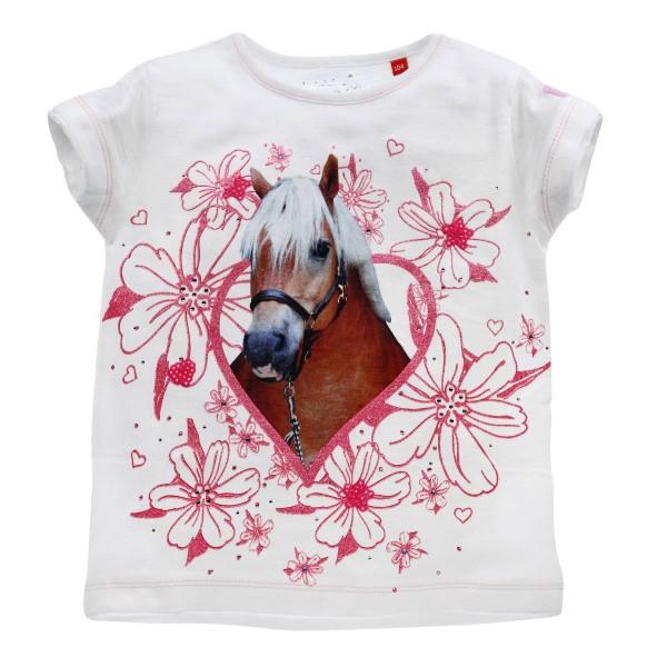 Mädchen T-Shirt weiss mit Pferd Motiv