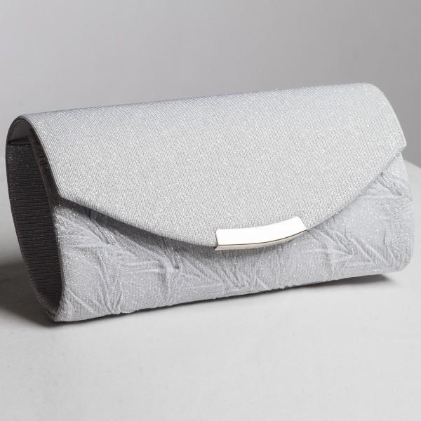 Abendtasche mit feiner Struktur - silber/glitzer