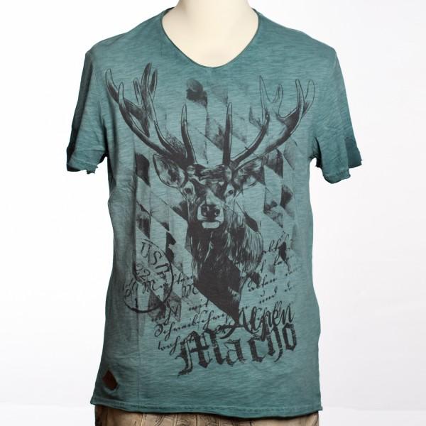 Herren Trachtenshirt türkis mit Hirsch Design