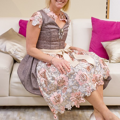 "Haute Couture Dirndl ""Lena"" , Marke Mon Cher- braun/rose"