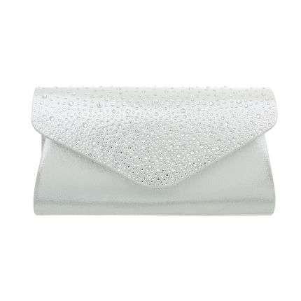 Exklusive Abendtasche mit Strass - silber
