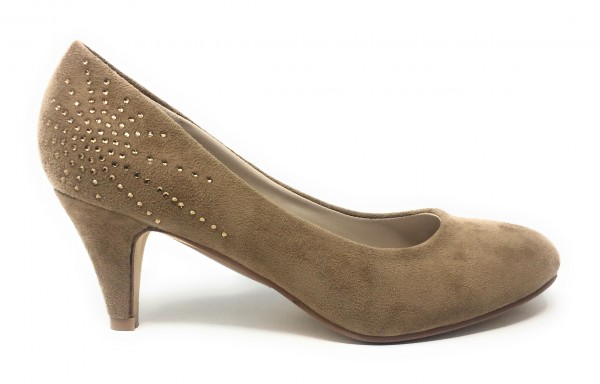 Damen Pumps Velour beige mit Strass