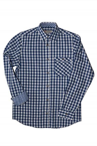 Herren Hemd kobalt/weiß