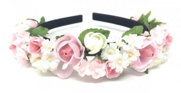 Haarreif mit Rosen und Ranunkeln - in weiß und rosa