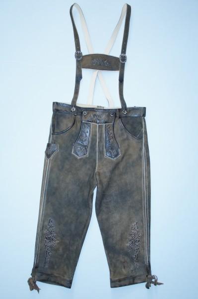 Jungen Lederhose mit Träger ziller-Antik braun Gr. 164